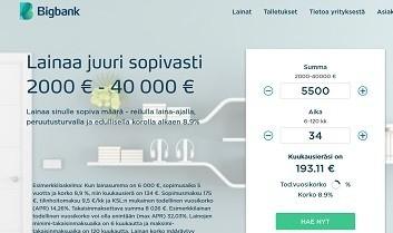 BigBank tarjoaa aina mahdollisimman hyvän lainatarjouksen, laina myös yhteisvastuullisesti
