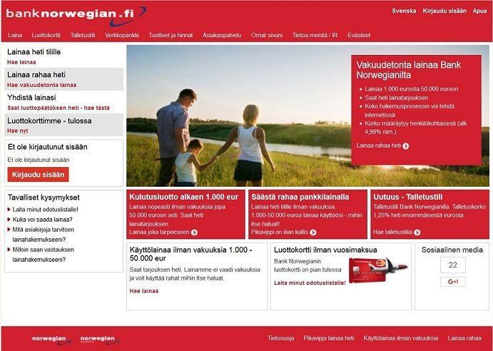 Kokemuksia norwegian bank
