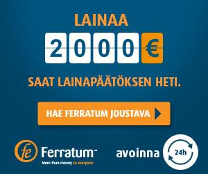 Ferratum Joustavalla lainaa 24h tilille myös lauantaina ja sunnuntaina ajantasasiirtona
