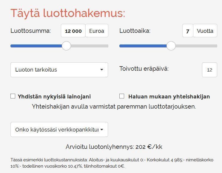 luottovertaaja.fi lainahakemus on yksinkertainen ja kuluarviot ovat selvästi esillä aina ennen kuin edes lähetät hakemusta eteenpäin