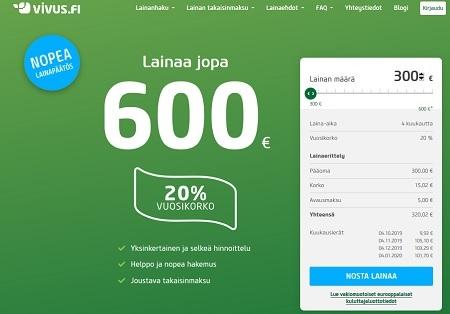 Vivus on uudistunut ja tarjoaa 300-600 euron lainaa joustavalla takaisinmaksulla