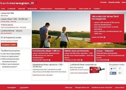 Uusi lainapaikka Bank Norwegian on nyt avannut ja tarjoaa huippuedullista pankkilainaa alkaen 4.99% korolla!