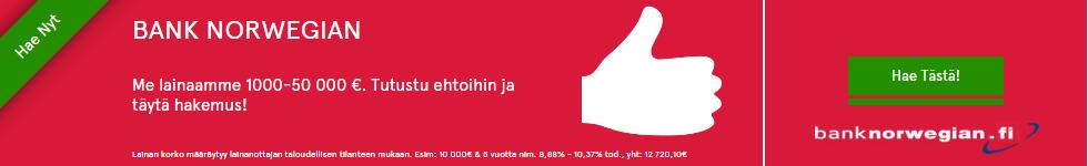 Bank Norwegian on kesän halvin lainapaikka siitä ei ole epäilystäkään ja et maksa turhasta, etkä joudu yllätystilanteisiin outojen lisäkulujen kera tai mitään muutakaan, vaan tämä kulutusluotto on juuri sitä mitä ilmoittaakin olevansa.