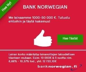 bank norwegian uusi palvelusta lainaa 3000e pankkilainana ilman vakuuksia ja takaajia halvalla