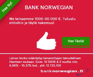 häälaina on kaikista halvin Bank Norwegianin kautta haettuna