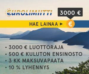 Eurolimiitti on 3000 euron luottorajan limiitti, johon saat mm 3kk maksuvapaata ja kuluttoman ensinoston.