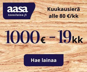 Tonnilaina.fi on uusi Aasan lainapalvelu, josta lainaat aina 1000 euroa 19 kuukaudeksi.
