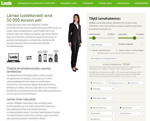Lendo.fi vakuudeton laina ei edellytä edes takaajia ja sitä saa netistä 50.000 euroon asti luotettavasti.