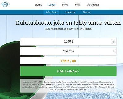 Lainasto.fi kulutusluotto rientää apuun kun tarvitset lainaa heti netistä
