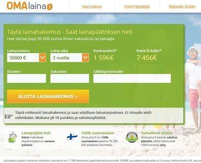 omalaina.fi on omanlaisensa rahoittaja netissä josta hakija saa lainaa ilman vakuuksia tai takaajia 50.000e saakka kahdenkymmenenneljän tunnin sisällä