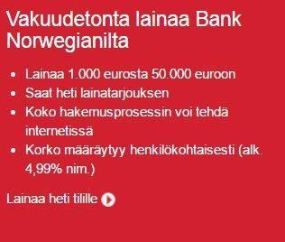 Kuka tahansa luottokelpoinen 23-vuotias voi hakea Norwegian Bankin vakuudetonta lainaa.