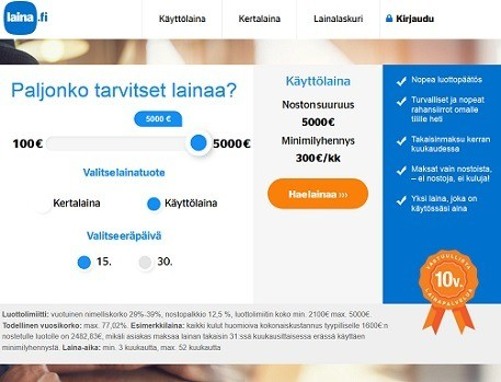 Laina.fi tarjoaa joustoluottoa osamaksullisena ja jopa 52 kk:n laina-ajalla heti tilille.