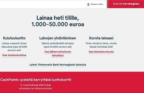 Bank Norwegian lainaa osamaksulla pankkilainan heti tilille