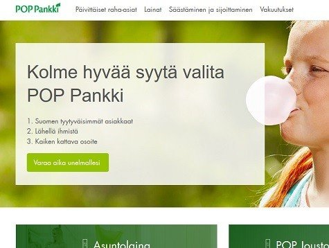 POP-Pankki hoitaa lainat, asuntolainat, vakuutukset ja kaiken samassa