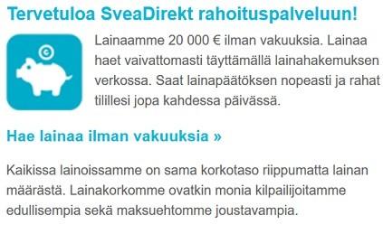 SveaDirekt rahoituspalvelu on kohtuullisesti hinnoiteltu.