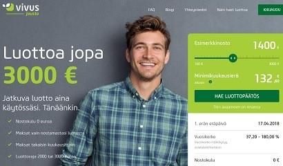 Uusi 2018 vuoden helmi on Vivus jousto joka 0 euron nostokulun jatkuva jopa 3000 euron luotto.
