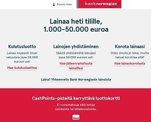 Bank Norwegian lainaa pankista heti tilille 1000 - 50.000 euroa.