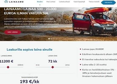 Lainaamo.fi tarjoaa kilpailukykyisen kuukausierän lainaa pitkillä maksuajoilla.
