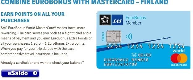 Sas Eurobonus luottokortit; Mastercard, Visa, Diners club.