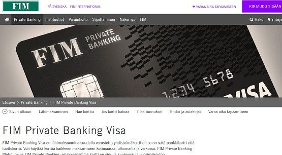 FIM Private Banking luottokortilla tai sen yhdistelmäkortilla helpotat maksamista ympäri maailman.