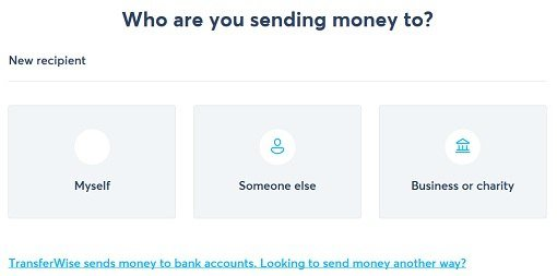 Valitse kenelle rahansiirto tapahtuu.