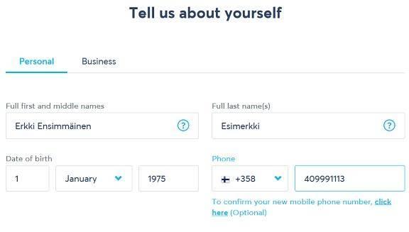 TransferWise pyytää sinua täyttämään osoitetiedot ja konfirmoimaan matkapuhelinnumeron.