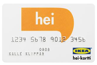 IKEA hei-luottokortti on joustava 300 - 5000 euron IKEA-tavaratalo kortti.