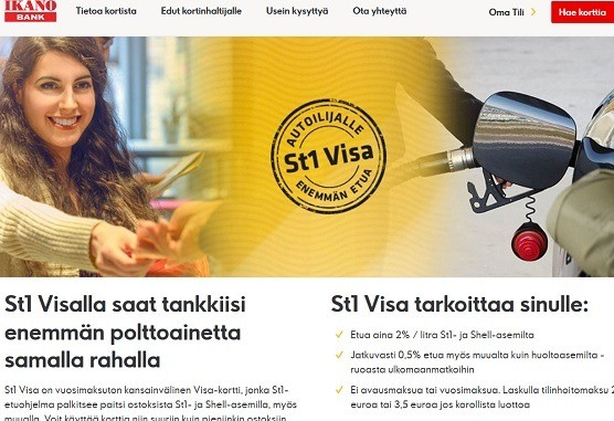 St1 Visan tarjoaa Ikano Bank