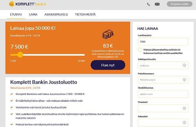 Komplett Bank on uusi joustoluotto vuoden markkinoilla syöden suomalaisten palveluiden asiakkaita edullisen korkonsa ansiosta