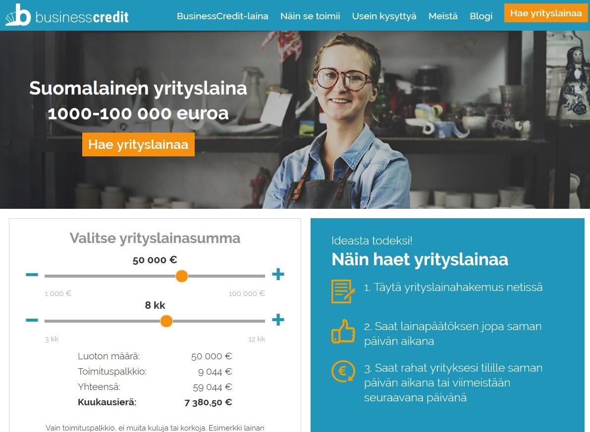 Business Credit on suomalainen yrityslaina ja sen lainalaskuri näyttää suoraan kulupalkkiomäärän