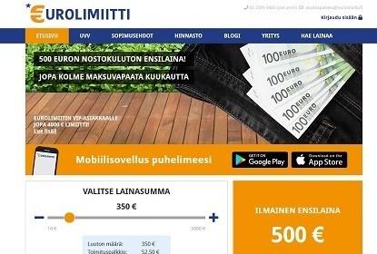 Eurolimiitti on uusi joustoluotto suomessa tarjoten 3000e luottotilin josta ensimmäinen 500e ensilaina on kuluton
