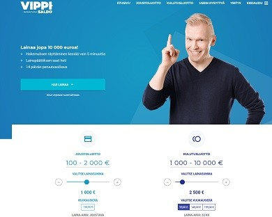 Vippi.fi on joustava 24h auki oleva pikavippi tai kertakulutusluotto 10 tonniin asti.