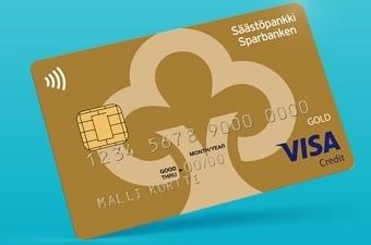 Jos etsit Visaa, oli se Electron, Credit tai Debit -kortti, on Säästöpankin luottokorteista kokemukset sen verran vahvat, että mikä tahansa kortti on ok, mutta tee päätös ensin, minkä kortin haluat. Kuvassa on kultainen Visa Gold -luottokortti.