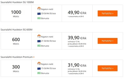 Saunalahti Huoleton 5G 1000M, 600M tai Premium paketit
