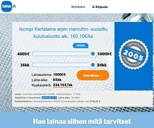 Raha ratkaisee ja sitä Laina.fi tarjoaa pienessä kuin vähän isommassakin muodossa kymmeneen tuhanteen euroon asti