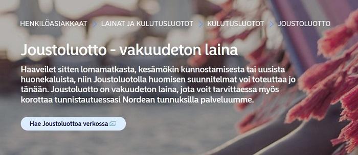 Nordea Joustoluotto on vakuudeton laina, jonka voit käyttää ihan mihin vain - vaikka unelmalomamatkaan