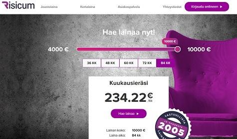 Risicum tarjoaa nyt lainaa 10000 euroon asti
