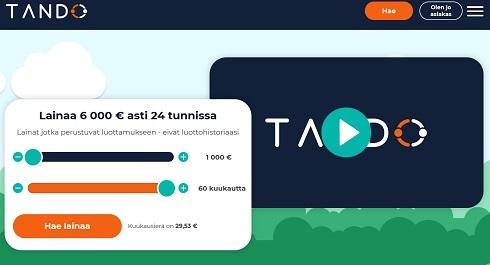 Tando lainaa 6000 euroa 24 tunnissa, kunhan haet sitä luotettavan takaajan kanssa