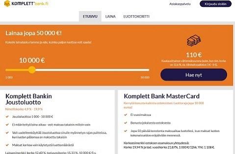 Komplett Bank joustoluotto on menestynyt Suomessa erinomaisesti
